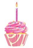 Cupcake met het branden van kaars Royalty-vrije Stock Afbeeldingen