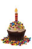 Cupcake met Kaars Royalty-vrije Stock Afbeeldingen