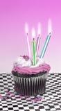 Cupcake met Kaarsen Royalty-vrije Stock Fotografie
