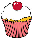 Cupcake met kers Royalty-vrije Stock Afbeelding