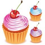 Cupcake met kers royalty-vrije illustratie