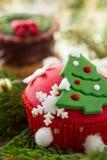 Cupcake met Kerstboom Stock Afbeeldingen