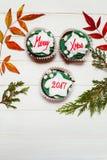 Cupcake met Kerstmismassage Royalty-vrije Stock Foto