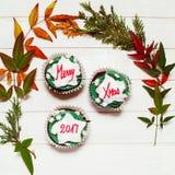 Cupcake met Kerstmismassage Stock Fotografie