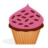 Cupcake met roze bovenste laagje en suikergoed bij bovenkant met chocolade binnen voor bakkerijmenu Stock Fotografie