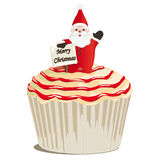 Cupcake met Santa Claus Stock Illustratie
