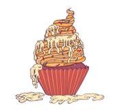 Cupcake met zure room wordt gevuld smolt onzorgvuldige stroom die Stock Afbeelding