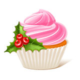 Cupcake with mistletoe Royalty Free Stock Photos