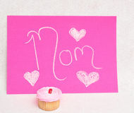 A cupcake for mothers day Royalty Free Stock Image