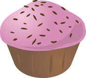 Cupcake muffin. Pink icing cupcake muffin. Vector isometric illustration Royalty Free Stock Photos