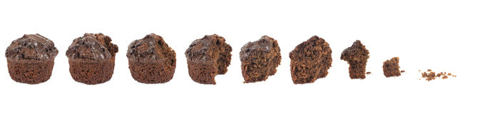 Baked dessert stages. Series of brown baked dessert shown progressing in stages from whole to crumbs, isolated on a white background Stock Images