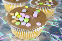 Cupcake muffin with chocolate and smarties Royalty Free Stock Photography