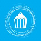 Cupcake, muffin icon on a blue background with abstract circles around and place for your text. Illustration Royalty Free Stock Image