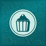 Cupcake, muffin icon on a green background, with arrows in different directions. It appears the electronic board. Cupcake, muffin icon on a green background Royalty Free Stock Photos