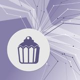 Cupcake, muffin icon on purple abstract modern background. The lines in all directions. With room for your advertising. Illustration Stock Photos