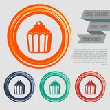 Cupcake, muffin icon on the red, blue, green, orange buttons for your website and design with space text. Illustration Royalty Free Stock Photos