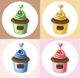 Cupcake muffin set collection Vector illustration dessert. Template icon for menu, cafe, bakery. Vintage retro Royalty Free Stock Photos