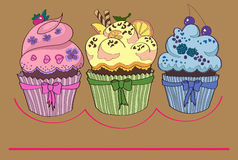 Cupcake or muffin with space for text Royalty Free Stock Image