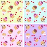 cupcake naadloos patroon Stock Afbeeldingen
