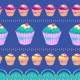 Cupcake naadloos patroon Stock Foto's