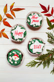 Cupcake with New Year message royalty free stock photos