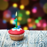 Cupcake with number one on background Stock Image