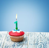 Cupcake with number one Royalty Free Stock Image
