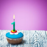 Cupcake with number one Stock Image