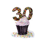 Cupcake. With number thirty. Hand drawn watercolor illustration Royalty Free Stock Images