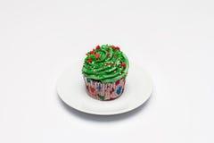 cupcake O conceito do cozimento do Natal imagens de stock royalty free