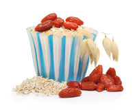 Cupcake from oat bran decorated with goji berry stock photos