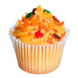 Cupcake with orange frosting and colored sprinkles isolated on white. Sweet food for Halloween Stock Photography