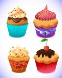 Cupcake pack. Chocolate and vanilla icing cupcakes Royalty Free Stock Photo