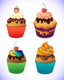 Cupcake pack. Chocolate and vanilla icing cupcakes Royalty Free Stock Photos