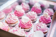 Cupcake packaging, delivery box, vanilla cupcakes with pink and white cream stock images