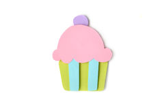 Cupcake paper cut on white background Royalty Free Stock Image