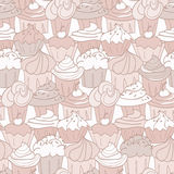 Cupcake Pattern. Seamless pattern of hand drawn cupcakes. Colors can be easily changed by adjusting global swatches Royalty Free Stock Photo