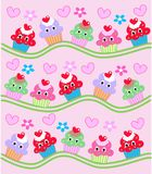 Cupcake pattern. Illustration of lot of colorful cupvakes on pink background Stock Photography