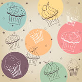 Cupcake pattern. Background creamy cupcake vector set. Vector illustration vector illustration