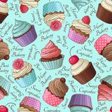Cupcake pattern, blue Royalty Free Stock Photos