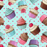 Cupcake pattern, blue. Yummy colorful cream cupcake seamless pattern with hearts, blue Stock Image