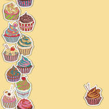 Cupcake pattern border. Seamless Sweet food texture. Use as a pattern fill Royalty Free Stock Image