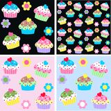 Cupcake pattern Stock Photo