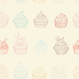Cupcake pattern. Seamless Sweet food texture. Use as a pattern fill Royalty Free Stock Photo