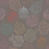 Cupcake pattern. Seamless Sweet food texture. Use as a pattern fill Royalty Free Stock Image