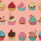 Cupcake pattern. Seamless Sweet food texture. Use as a pattern fill Stock Images
