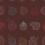 Cupcake pattern. Seamless Sweet food texture. Use as a pattern fill Royalty Free Stock Photos