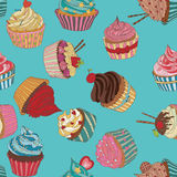Cupcake pattern. Seamless Sweet food texture. Use as a pattern fill Stock Photos