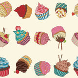Cupcake pattern. Seamless Sweet food texture. Use as a pattern fill Royalty Free Stock Photography
