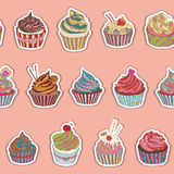 Cupcake pattern. Seamless Sweet food texture. Use as a pattern fill Royalty Free Stock Images